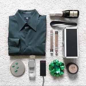 Men's dark green dress shirt