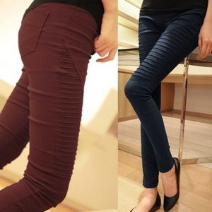 ❤BOGO Red wine, Elastic Casual Pleated Leggings