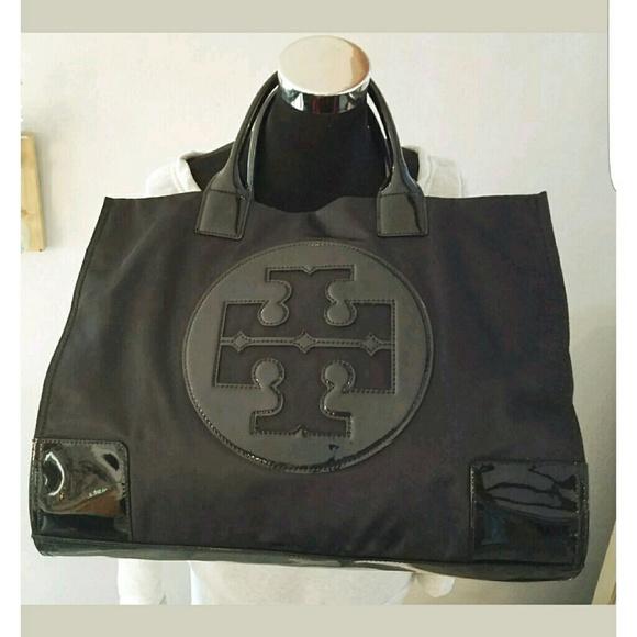 011375198a0 Tory Burch Ella Large Totem Bag Black Nylon EUC. M 58715fa84e95a3c1a8092627