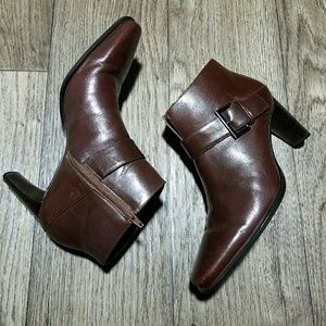 Franco Sarto Shoes - Franco sarto brown leather heeled booties Sz 7