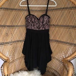 bebe Dresses - Bebe Lace Pink and Black Dress