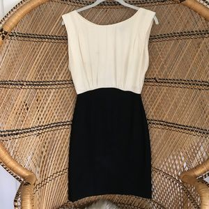 French Connection Black and Cream Dress