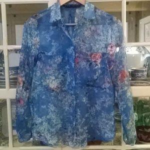 Zara Tops - 💙ZARA Sheer Blue Spring Garden Silk Blouse💙