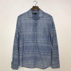 21men Other - [21 Men] Chambray Printed Button Down Shirt Denim