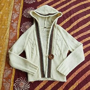 Free People Hooded Embroidered Cardigan Sweater L