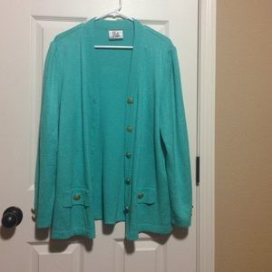Beautiful turquoise color cardigan sweater