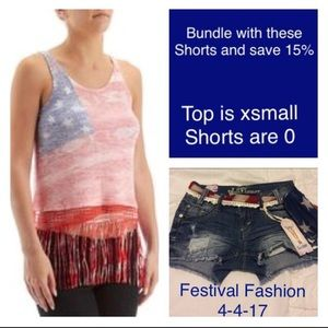 Red Camel Tops - Patriotic top with crocheted hem and fringe