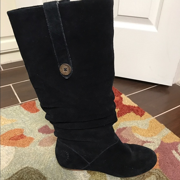 7202680924b Authentic Ugg Highkoo black flat slouchy boots sz7