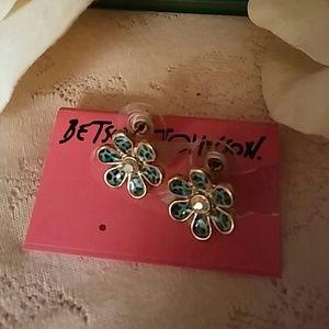 Betsey Johnson Blue Enamel Earrings