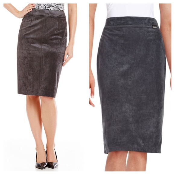 d90e8858ee Calvin Klein Skirts | Faux Suede Charcoal Gray Pencil Skirt | Poshmark