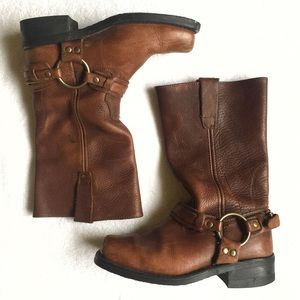 Vintage Leather Motorcycle Boots