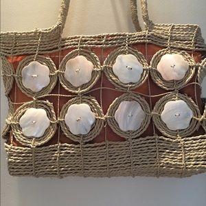 Handbags - NWOT Crochet & Shell Tote Bag