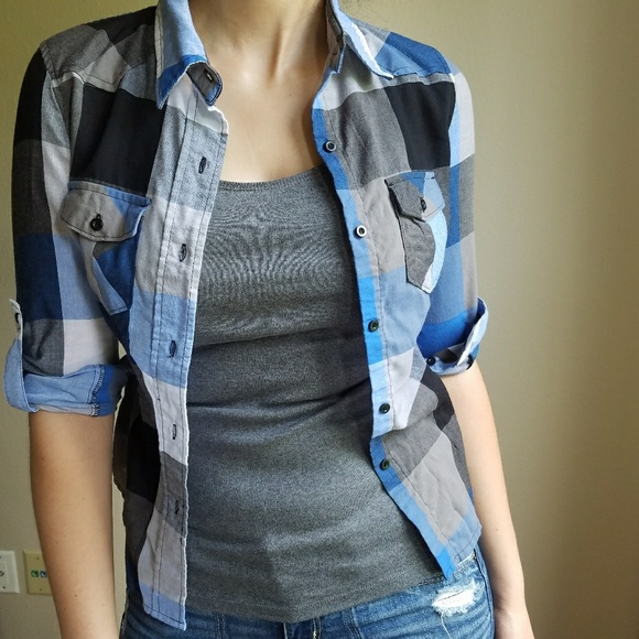 Tops - Blue and shades of Grey Checkered Button-Down