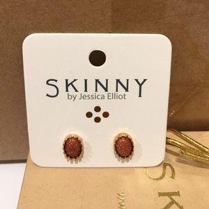 Jessica Elliot Jewelry - Semi Precious Coral Oval Stud Earrings