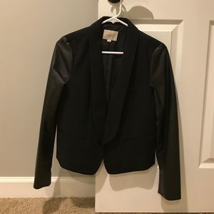 LOFT black blazer with faux leather sleeves.