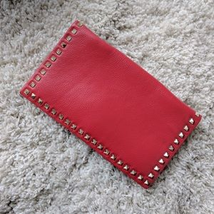 Neiman Marcus Handbags - Red pebbled leather studded clutch