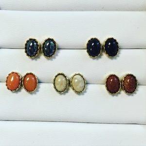 Jessica Elliot Jewelry - Semi Precious Oval Hematite Studs