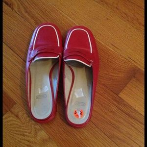 69992c8be55 Coach Shoes - Vintage Coach Red leather Slip-on Penny Loafers