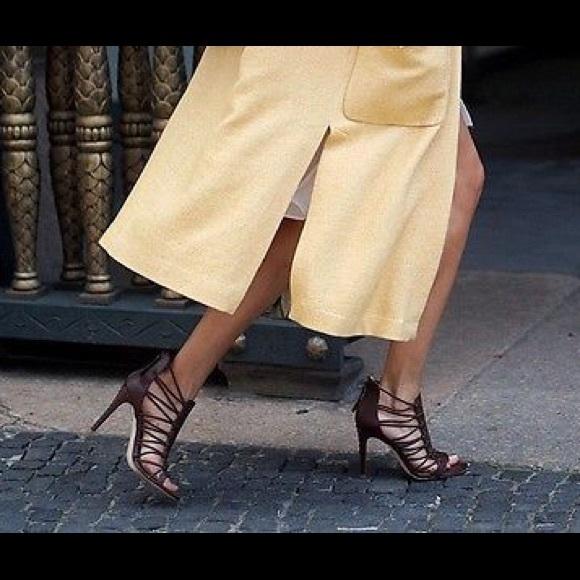 798280bdf5c Zara Leather Strappy Brown Croc Print Heel Sz 9
