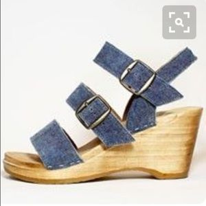 No. 6 Three Strap Denim Wedge Clog 37 7