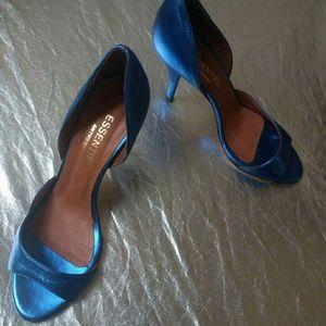 Shoes - ANTWERP metallic blue minimalist strap heel 9