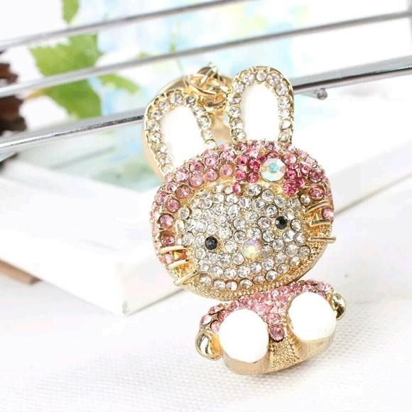 Rabbit Bunny Rhinestone Keychain Keyring 51834271dc7a