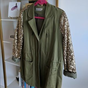 Fauberg du Temple Jackets & Blazers - Army green utility jacket with sequin sleeves