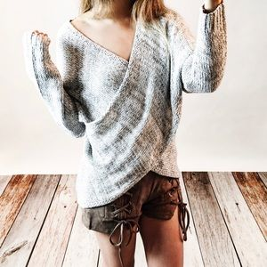 Bare Anthology Sweaters - Crossover Surplice Long Sleeve Sweater
