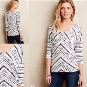 Anthropologie Tops - Anthropologie Chevron Stripe Tee Size S