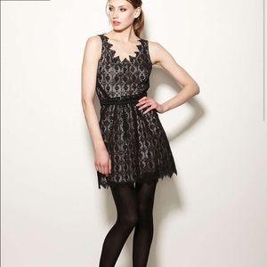 Charlotte Ronson Dresses & Skirts - Charlotte Ronson Black Lace Belted Dress