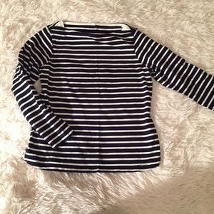 Tops - Navy White Cropped Striped Boat Neck Swing Shirt