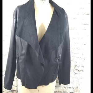 Bar III Jackets & Blazers - Bar lll Black Vegan Waterfall Jacket