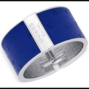 NWT.. GUESS SILVER-TONE FAUX LEATHER CUFF BRACELET