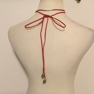 Jewelry - Long Bohemian Red Faux Suede Choker Wrap Necklace