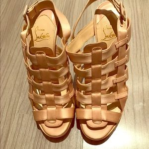 bf20a5f8f Christian Louboutin Shoes - Christian Louboutin Blush Satin Cage Sandals