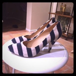 Kathryn Amberleigh Shoes - Kathryn Amberleigh: Blue Terry Striped Heels