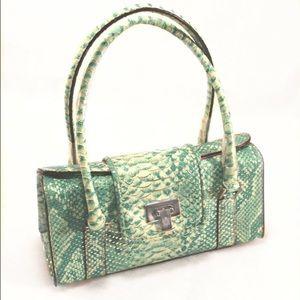 Liz Claiborne Handbags - LIZ CLAIBORNE Aqua Reptile Print Domed Box Purse