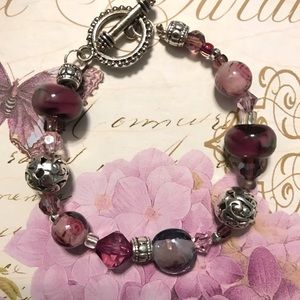 Jewelry - Handmade Purple Glass & Silver Bracelet
