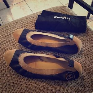Chanel leather & Suede Spirit Elastic Flats