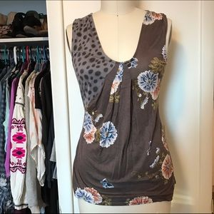 Anthropologie Mixed Print Pleated Knit Tank