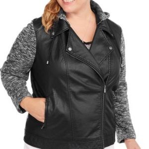 Maxwell Studio Jackets & Blazers - Sale! Faux Leather Moto Jacket with Layered Fleece