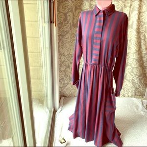 Vintage Serbin Pinup Long Sleeve Striped Dress