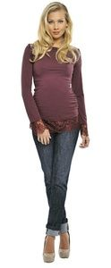 Olian Tops - Olian Maternity Top Shirt Lace Cabernet Wine M