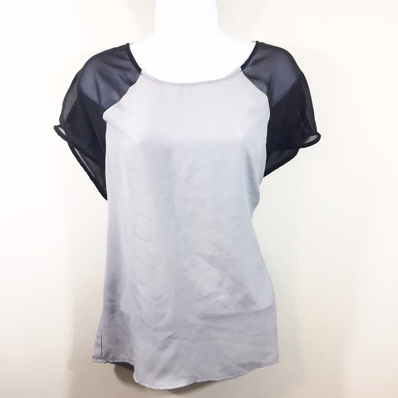 7adf1306e petticoat alley Tops | Gray Top With Sheer Black Sleeves | Poshmark