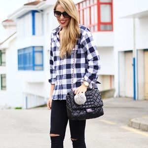 Oversized Flannel Buffalo Check Plaid Shirt Top