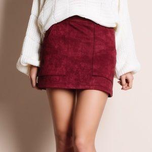 Suede Burgundy Mini Skirt
