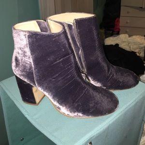 Grey velvet booties