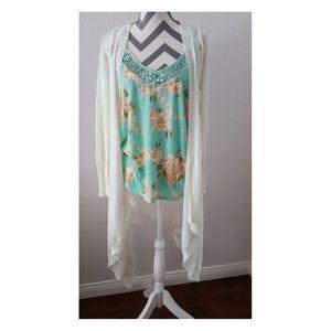 Rue 21 Beige Asymmetrical Sweater Cardigan