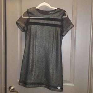 Metallic black mesh dress