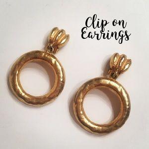 Jewelry - Gold Clip-on Dangle Hoop Earrings